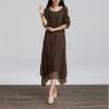 ZANZEA แฟชั่นชุดเดรสออนไลน์ยาวทรงเอ สำหรับผู้หญิง BOHO Sundress Cotton Linen