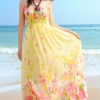 MAXI DRESS ชุดเดรสยาว พร้อมส่ง สีเหลือง สายเดี่ยว ลายดอกไม้สีหวานๆค่ะ สม๊อคช่วงตัวเสื้อ สามารถใส่ออกงานได้