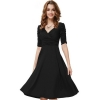 EGC New Women's Sexy deep V middle-length sleeves drapeddress(Black) - INTL