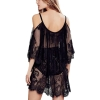 Women Lace Off-Shoulder Mini dress Black S-2XL