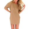 Zanzea Women Loose T Shirt A-line Asia Dresses Online Casual Blouse Khaki