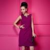 dress ชุดเดรสทํางาน แฟชั่น สีม่วง แขนกุด แบบเรียบง่าย ออกงานได้ สวยมาก Asia Street Fashion