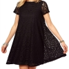 Acecharming Women Hollow Lace Crochet Short Sleeve Floral PartyMini Swing Ladies Dresses Shirt Tops (Black)