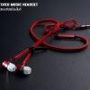 หูฟังแบบรูดซิป (STEREO MUSIC HEADSET) มีไมค์พร้อมใช้งาน สีแดง