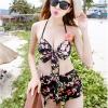 ชุดว่ายน้ำทูพีช สีดำ แต่งสายคล้องคอ ลายผีเสื้อ + ลายดอกไม้สีสัน ดีเทลกางเกงย่นๆ ด้านหน้า น่ารักมากๆค่ะ