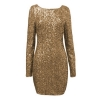 Toprank Fashion Major Halter Back Sequin Dress Open Back LongSleeve Backless Bodycon Party Asia Dresses For Women Trendy Fashion Style Online ( Gold )