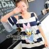 Dasiy Duck Stripe Open Sholder Dress by Seoul Secret