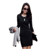 Long Sleeve Causal Slim Tunic Cocktail Dresses For Women (Black)