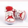 รองเท้าสุนัข รองเท้าแมว แบบผ้าใบลายเรียบ สีแดง (4 ข้าง)