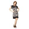 All about Fashionista เดรสสั้น ผ้ามอสเครปพิมพ์ลายกราฟฟิก (สีดำ)