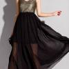 maxi dress ชุดเดรสยาว แฟชั่น ผ้าชีฟอง สีดำ คอวี แขนกุด ใส่ออกงาน เซ็กซี่