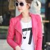 เสื้อแจ็คเก็ต เสื้อหนังแฟชั่น พร้อมส่ง สีชมพู คอจีนเก๋ ดีเทลด้วยปกโฉบเฉี่ยว แต่งสายคาดด้านข้าง สุดเท่ห์