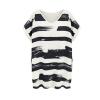 Batwing Painted Stripes Loose Dress (Black) - Intl