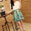 dress ชุดเดรสแฟชั่น ใส่ทำงาน ผ้าชีฟอง สีขาว กระโปรงลายเขียว น่ารัก Asia Street Fashion