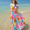 MAXI DRESS ชุดเดรสยาว พร้อมส่ง สีโทนฟ้า ผ้าชีฟอง เนื้อดี ใส่สบาย มีซับใน พิมพ์ลายดอกไม้สีชมพูสลับสีส้ม สีสันสดใส สายเดี่ยวเซ็กซี่ รับรองสินค้าจริงเหมือนแบบ 100 %
