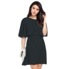 Round collar show thin chiffon loose dress - INTL