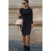 Siebel Solid Color Bodycon O-neck Long Sleeve Dresses For Women Trendy Fashion Style Online S-XL Black