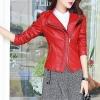เสื้อแจ็คเก็ต เสื้อหนังแฟชั่น พร้อมส่ง สีแดง คอปก ดีเทลด้วยปกโฉบเฉี่ยว 2 ชั้นด้านขวา สุดเท่ห์ แต่งกระเป๋าด้วยซิบรูดเก๋ๆ