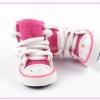 รองเท้าสุนัข รองเท้าแมว แบบผ้าใบลายเรียบ สีชมพู (4 ข้าง)