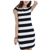Zanzea Women Cap Sleeve Striped Bodycon Package Hip Mini Dress