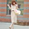 maxi dress - ชุดเดรสยาวเสื้อกล้าม สีเบจ แต่งคอ จั๊มเอว ใส่ไปทะเลชิวๆ ใส่ทำงาน เก๋ไก๋ น่ารัก Asia Street Fashion (พรีออเดอร์)