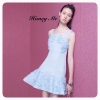 Dress สายเดี่ยวสีฟ้าพลาสเทล designให้มีดอกไม้สีฟ้าที่ทำขึ้นมาทีละดอกสวยมากๆคะงานฝีมือสุดๆ