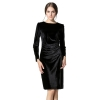 EOZY 2016 New Fashion Women Pleuche Midi Ladies Dresses Stylish Brand NewLady Round Neck Gorgeous Soft Warm Long Sleeves Evening VelvetWomen is Fashion Dresses (Black)