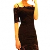 Off Shoulder Short Sleeve Women Mini Lace Ladies Dresseses (Black)