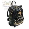 กระเป๋าเป้ แฟชั่น กระเป๋าเป้สะพายไหล่-สะพายหลัง กระเป๋าเดินทาง พร้อมกระเป๋าพวงกุญแจสีดำ Beautysecretd Korea Street Black Leather Dual Handle Backpack
