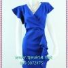 1595เสื้อผ้าแฟชั่น ชุดเดรสทำงานป้ายเอวสีน้ำเงินผ้าฮานาเกะเนื้อดีแต่งระบายแขนข้างเดียวสไตล์หรูเนี๊ยบสวมใส่ทำงาน