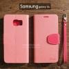 เคส Samsung Galaxy s6 เคสฝาพับ ทูโทน สีชมพู/ชมพูเข้ม พร้อมสายห้อย (มีช่องเก็บบัตรด้านใน)