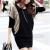 Cyber Women Batwing Sleeve Office Women is Dresses Onlinees Bodycon Womens Dresses Online Long Tops (Black)