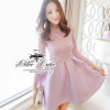 Elegant pastel lace striped silk mini dress