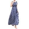 ZANZEA Ladies Maxi Women is Dresses Online Summer Long Skirt Floral Casual PleatedLadies Dresses Blue