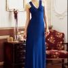 MAXI DRESS ชุดเดรสยาวแฟชั่น พร้อมส่ง สีน้ำเงิน แขนกุด คอวีลึก เข้ารูป เปิดหลังเซ็กซี่สุดๆ