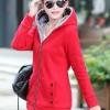 เสื้อกันหนาวสีแดง พร้อมส่ง แฟชั่นมาใหม่สไตล์เกาหลี ซิบหน้า มีฮูดสุดเท่ห์ ฮูดบุด้วยขนสัตว์สังเคราะห์นิ่มๆ