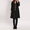 Ladies Long Sleeve Pockets V-Neck Loose Casual Cotton Pregnant MIniAsia Dresses For Women Trendy Fashion Style Online Black