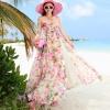 ชุดเดรสยาว MAXIDRESS พร้อมส่ง เกาะอก ลายดอกไม้สีชมพู สวยมาก สม๊อคหลัง กระโปรงผ่าด้านหน้า พริ้วๆ