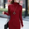 เสื้อกันหนาวไหมพรม พร้อมส่ง สีแดง คอเต่า แต่งลายน่ารักๆ ตัวยาว คลุมสะโพก หนาวนี้ไม่ควรพลาดนะคะ