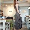 maxi dress-ชุดเดรสยาวแฟชั่น ใส่เที่ยว ชุดทำงาน สีเทา แขนกุด ผ้า Cotton ด้านหลังแต่งตาข่าย กระโปรงพริ้ว ใส่ออกงานได้ เซ็กซี่ Asia Street Fashion