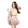 Fashionstory ชุดเดรสพิมพ์ลายดอกไม้ 502/1 (สีครีม)