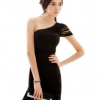 Sexy Sloping Shoulder Elastic Dress Black