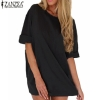 Zanzea Women Loose T Shirt A-line Dresses For Women Casual Blouse Black