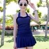 ชุดว่ายน้ำวันพีช สีน้ำเงิน สายคล้องคอ แต่งช่วงเอวย่นๆ น่ารักๆ ดีเทลช่วงหน้าอกสวย