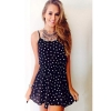 Cyber Sexy Ladies Floral Print Dress Women Sleeveless SpaghettiStrap Elastic Waist Casual Mini Women is Fashion Dresses ( Dark Blue )