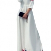 Loose Printing Maxi Women is Fashion Dresses (White)