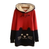 Ready4Girl เสื้อสเวตเตอร์ลายแมว ฮู้ดขนแกะ ซับกำมะหยี่เต็มตัว -สีแดง