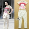 Sevy Two Pieces Of Sweet Pink Printing Beaded Mesh Crystal Blouse With Feet Pants Sets