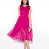 dress ชุดเดรสทํางานแฟชั่น สีชมพู ผ้าชีฟอง สามารถใส่ออกงานได้ น่ารัก