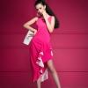 maxi dress เดรสยาว งานแต่ง สีชมพู แขนกุด ใส่ออกงาน น่ารัก สวยๆ